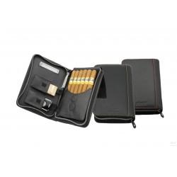 Adorini Zigarrenetui Echtleder schwarz, Garn gelb